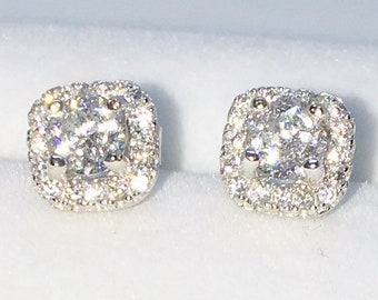 Brand New White Gold on 925 Solid Sterling Silver Square with Small and large white round CZ studs Earrings ( 6 . 6  mm )