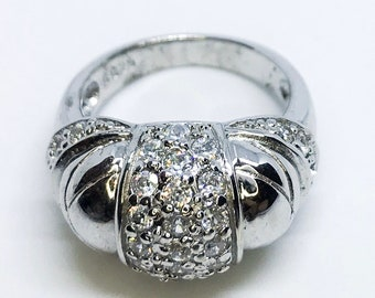 NEW 14K White Gold Layered on Sterling Silver Round with Silver Stones Ring