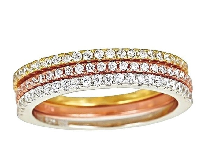 14k ywr gold layer on 925 silver stackable half eternity cz 3 rings set size 8