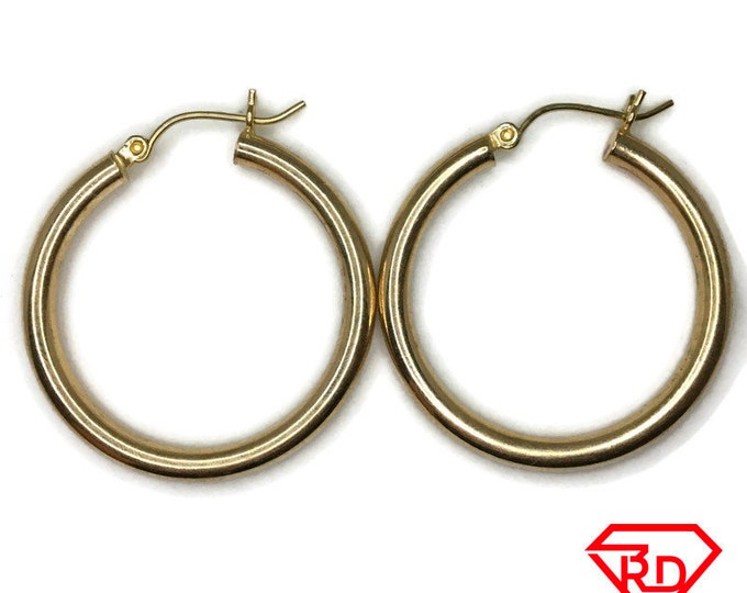 14K Hollow Smooth plain Hoop Earrings of yellow gold