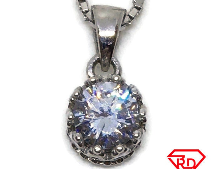 Cubic Zirconia crown set pendant white Gold on silver