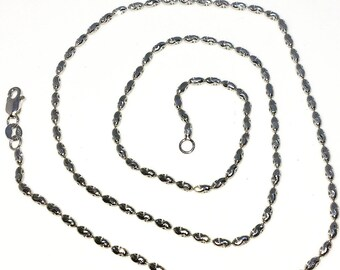 Brand New White Gold on 925 Solid Sterling Silver 18 inch Diamond cut Oval Bead Necklace with Lobster Claw Clasp