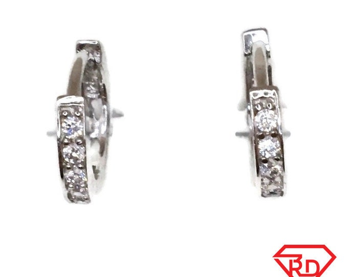 Brand New white gold on 925 Silver Hoop Earrings One sided Tiny round with white round CZ ( 12 . 7 mm )