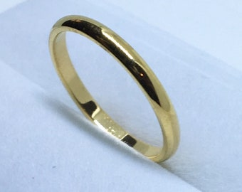 1 . 9 mm Brand New Yellow Gold Plated on Tiny Plain Stainless Steel ring band