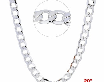 14k White gold Layer on Solid 925 Sterling Silver Curb Chain- 3.2 mm- 20""