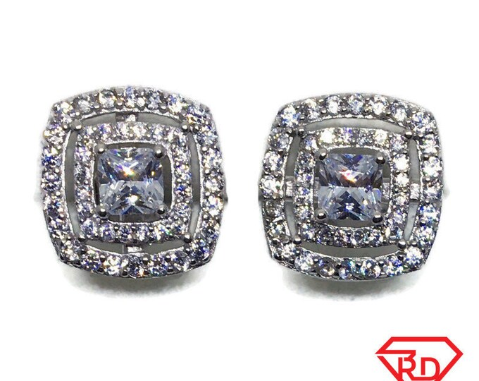 White gold on Silver Stud Earrings square white round & princess CZ