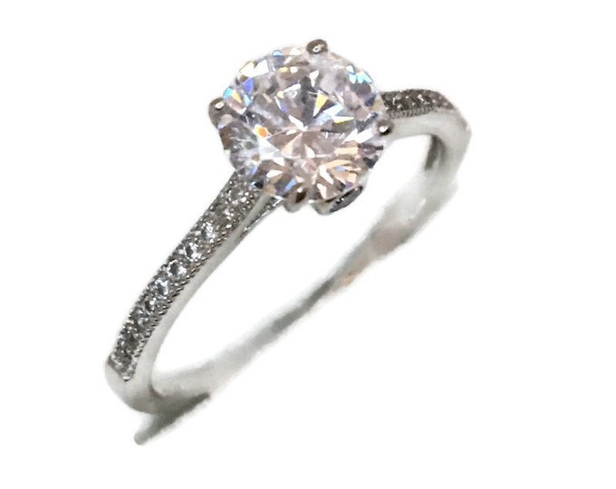Brand New White Gold on 925 Sterling Silver Ring band thin Four prong basket with Round white CZ ( size 8 )