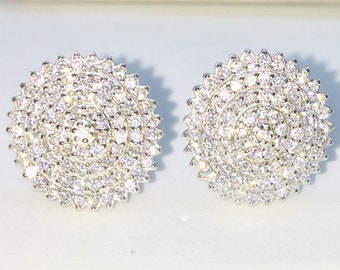 Brand New White Gold on 925 Solid Sterling Silver Multi Layer Circles with white round CZ studs Earrings ( 14 . 7 mm )