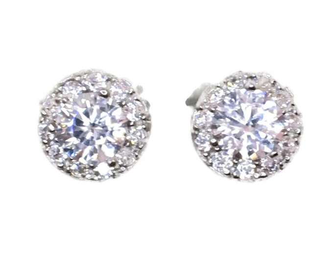 New white gold on 925 silver studs earrings circle with big and small white round cz