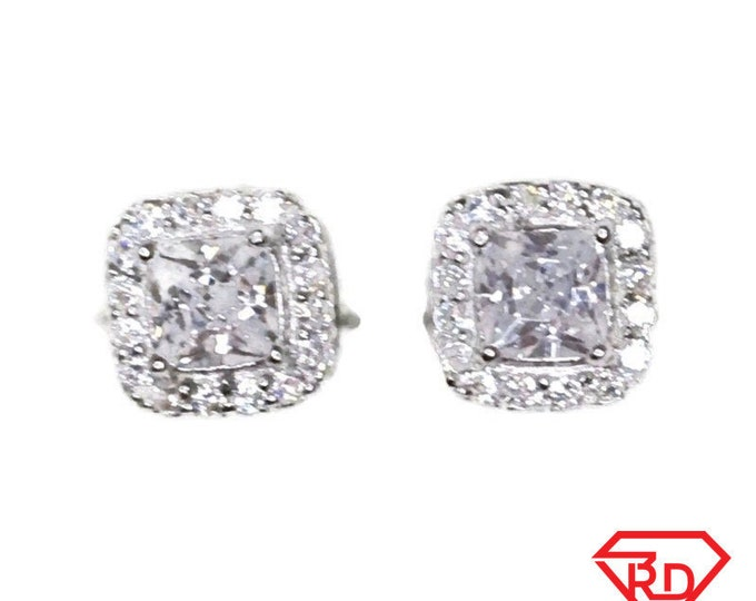 Brand New white gold on 925 Silver Studs Earrings Square with Center Emerald CZ with white round CZ ( 6 . 6 mm )