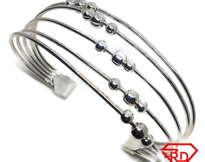 Layers of Beads cuff Bangle Bracelet 925 Silver