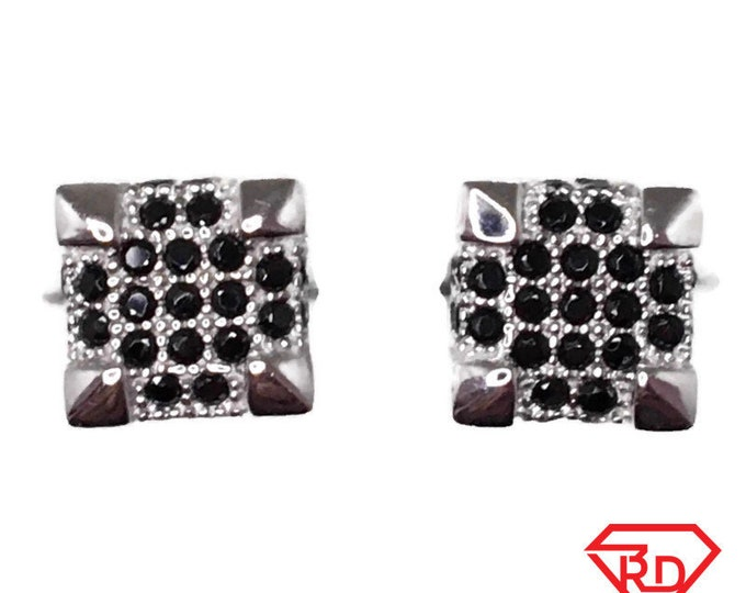 Black Cubic Zirconia Stud Earrings small cube White Gold