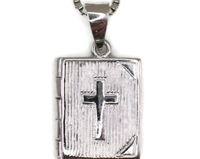 White Gold layer Silver Pendant Necklace bible book & free chain