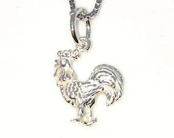 Brand New 925 Solid Sterling Silver Tiny Pendant with Rooster Zodiac and Free chain