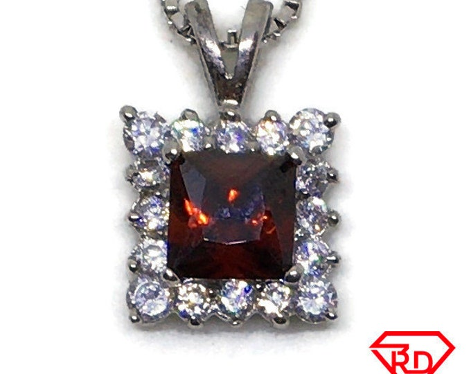 Red and white Cubic Zirconia pendant white Gold on 925 silver