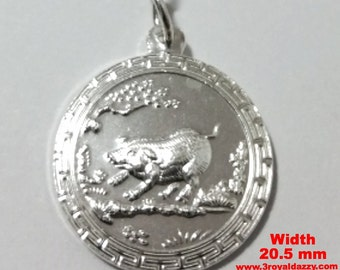 Chinese Zodiac Horoscope 999 fine Silver Round Year of Pig / Boar Pendant charm