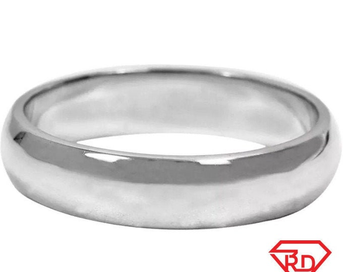 3 . 7mm size 13 . 5 - Handmade solid 990 silver plain wedding ring band