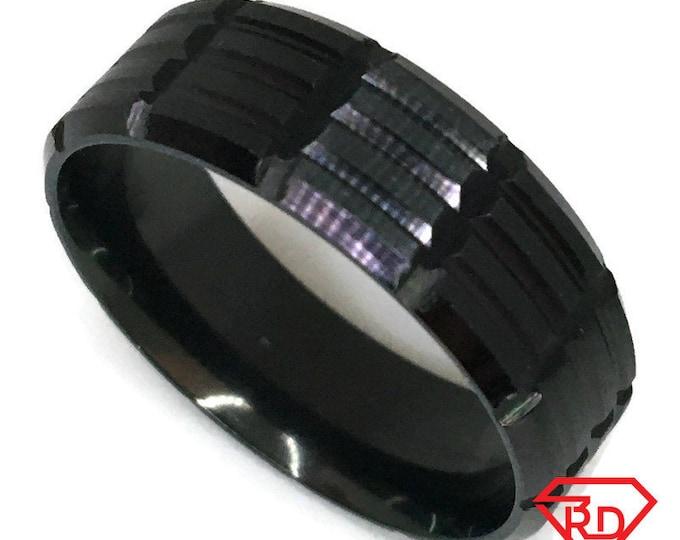 Block pattern Ring black gold on Steel (size 13)