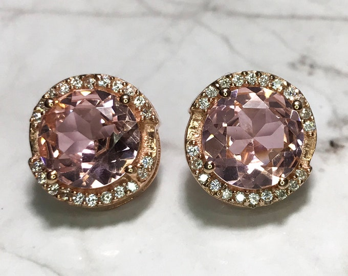 NEW 14K Gold Layered on Sterling Silver Circle With Pink Stone Stud Earrings