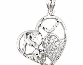 Gorgeous Heart Shape Shiny Diamond Cut With CZ Set On 18k Layered Sterling Silver Pendant