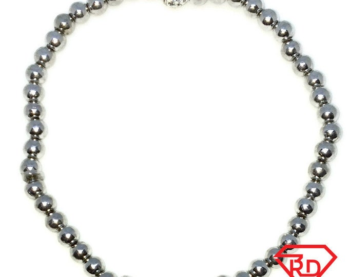 New White Gold Layered on 925 Solid Sterling Silver Elastic Bangle Bracelets with smooth plainbeads