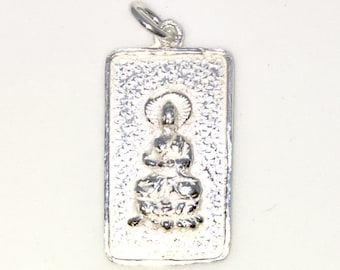 Brand New 925 Solid Sterling Silver Medium Pendant with One sided rectangle shape praying buddha