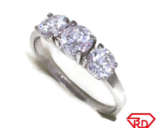 Triple 4 prong CZ ring band 14K Real White gold S7