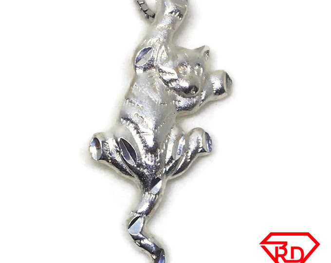 Cute Climbing cat charm pendant 925 Sterling Silver