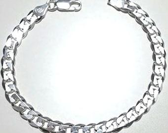 """Men women children sterling silver italian cuban curb link bracelet - 5.5mm 7"""""""