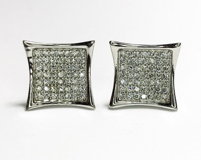 NEW 925 Sterling Silver Bigger Curved Square with Stones Stud Earrings