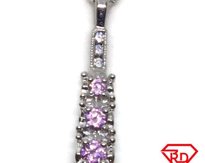 Pink Cubic Zirconia pendant white Gold on 925 silver
