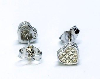 14k white gold on sterling silver heart earrings