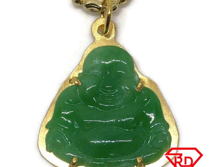 Budai Buddha darker green Jade Pendant 24K Yellow gold Plated