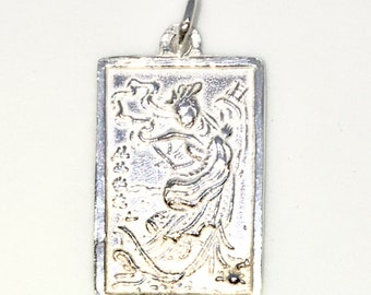 Brand New 925 Solid Sterling Silver Medium Pendant with One sided rectangle shape Chinese Saint