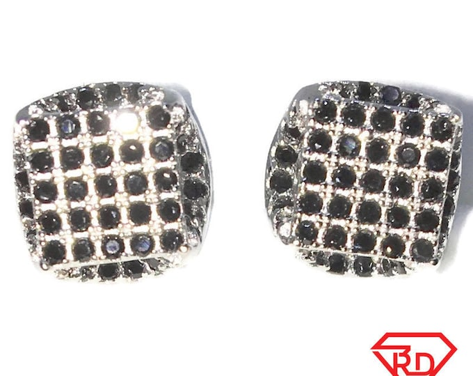 Brand New White Gold on 925 Solid Sterling Silver Square with zigzag sides with black round CZ studs Earrings ( 7 . 6 mm )