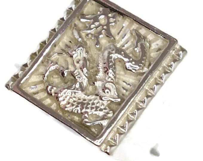 Wealth dragon Men ring Anti-Tarnish Silver Band (Size  7 . 75)