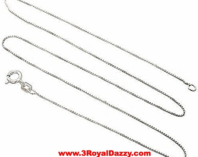 Italian Solid Anti Tarnish .925 sterling silver box link chain - 1 mm 16 ""