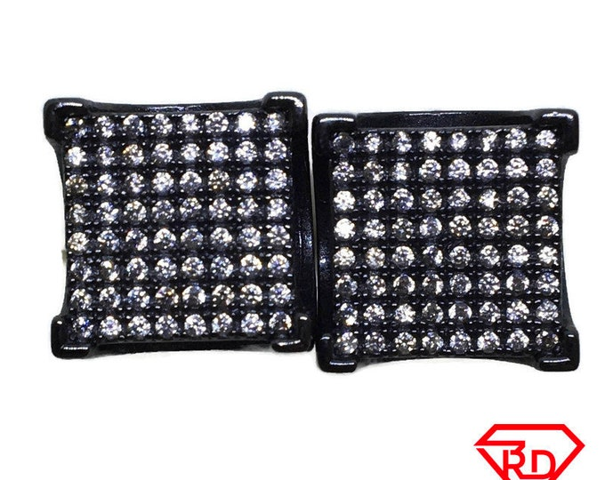 Large Square white CZ stud Earrings Gothic Black gold layer