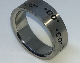 7 . 9mm Size 10 Brand New White Gold Plated with CO Print on Plain Stainless Steel ring band