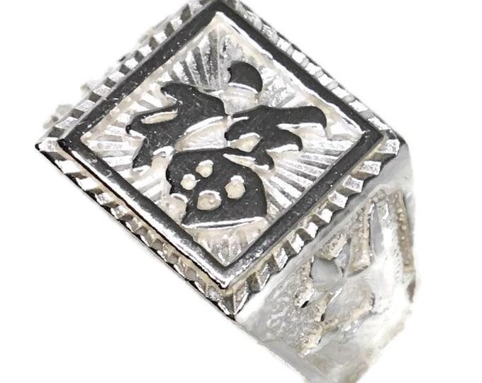 Fortune bird Men small ring Anti-Tarnish Silver Band (Size  6 . 75)