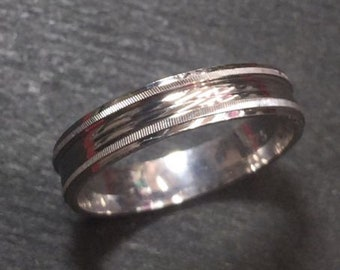 New 14k white gold layer on silver handmade wedding fancy cut ring band 3.8mm s7
