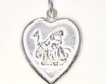 Brand New 925 Solid Sterling Silver Medium Pendant with Heart shape old man and good fortune chinese letters