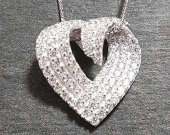 New 14k White Gold On 925 Curved Heart Pendant Charm