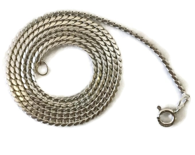 Brand New Anti-tarnish Silver Necklace 18 inch rigid snake chain with spring ring clasp
