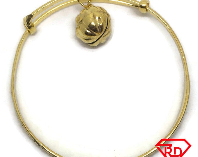 Chinese Zodiac & bell slip in Baby Bangle .999 Yellow Gold Layer