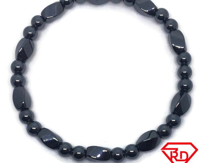 Magnetic Hematite Black Round Beads Elastic Bracelet