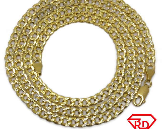 Curb link Chain 24 inch Necklace 18K Yellow Gold Layer