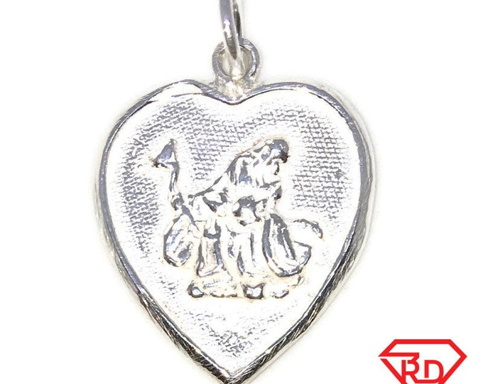 Brand New  Silver Pendant Heart shape  good fortune Chinese letters