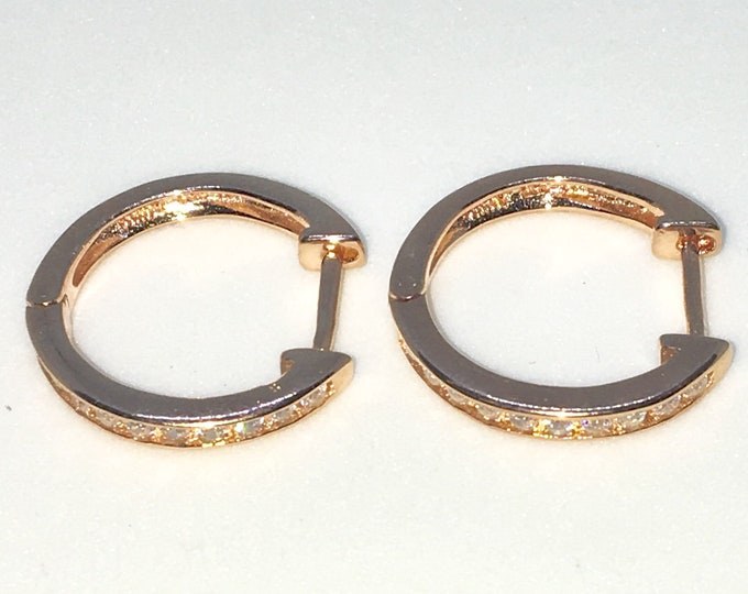 New 14k Pink Gold on 925 Sterling Silver Single sided White Round CZ Hoop Earrings ( 2 . 2  mm )