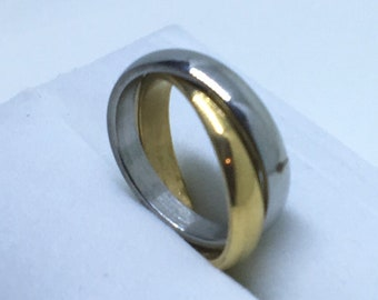 3 . 1 mm Brand New Yellow and White Gold Plated Double ring on Stainless Steel ring band
